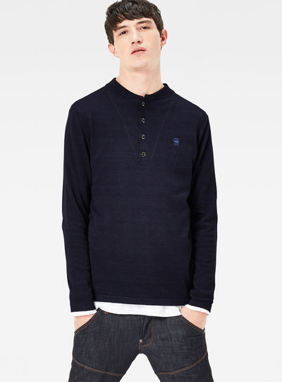 Lox Granddad Indigo Knit Regular Fit Pullover