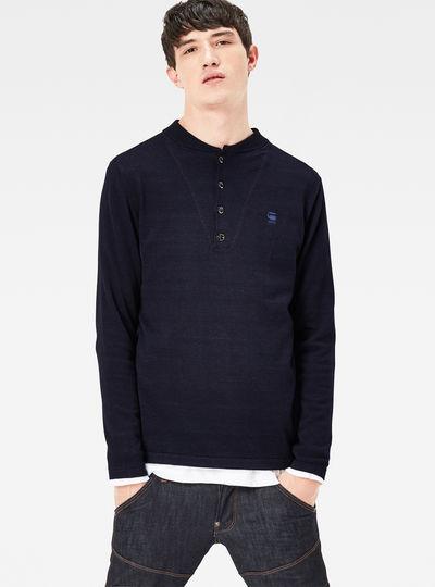 Lox Granddad Indigo Knit Regular Fit Pullover