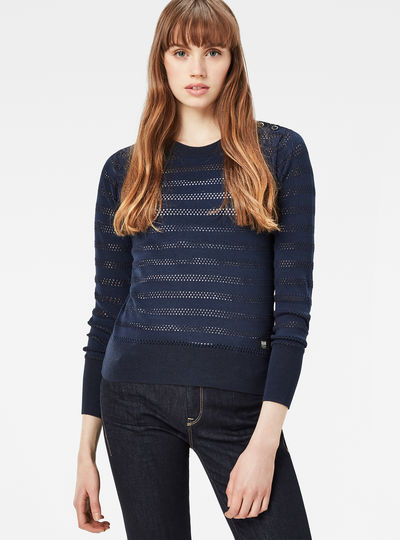 Exly Pointelle Straight Knit Pullover
