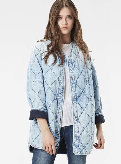 Quilted Padded Long Overshirt